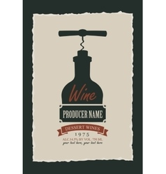 Wine label with a picture of the bottle vector
