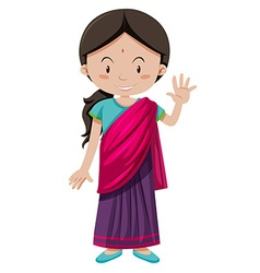 Indian girl with happy face greeting vector