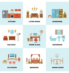 Living room bedroom kitchen kids bathroom vector
