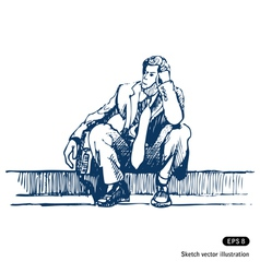 Businessman sitting on step vector