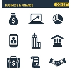 Icons set premium quality of business economic vector