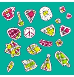 Hippie embroidery neon palette summer patches vector