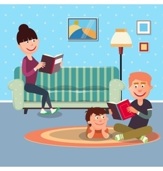 Father Reading Book to his Son vector image