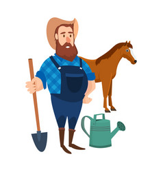 a farmer on his agricultural plot vector image