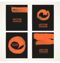 Abstract black and orange brush texture vector