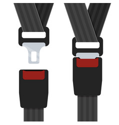 an open and closed seatbelt vector image