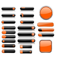 black and orange menu buttons interface elements vector image vector image