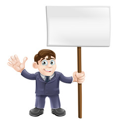 Businessman holding sign vector