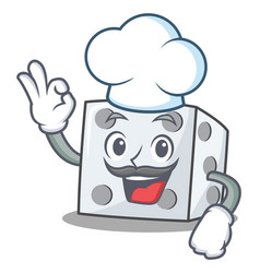 Chef dice character cartoon style vector