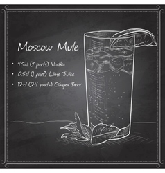 Cocktail moscow mule on black board vector