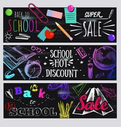 dark back to school typography banner set vector image