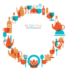 Dinner restaurant and eating icons wreath vector