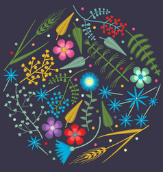 embroidery round pattern with forest plants vector image