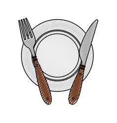 fork and knife with dish cutlery vector image