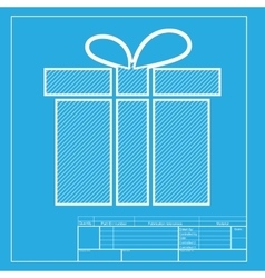 Gift box sign White section of icon on blueprint vector image vector image
