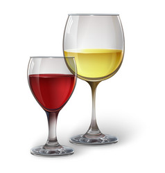 Glass glasses with wine vector