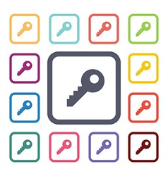 key flat icons set vector image