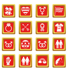 Lgbt icons set red vector