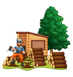 lumber jack chops woods vector image vector image