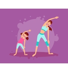 Mother and daughter engage in fitness vector