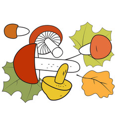 mushrooms and autumn leaves vector image vector image