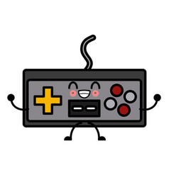 old console gamepad cute kawaii cartoon vector image