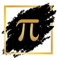 Pi greek letter sign golden icon at black vector