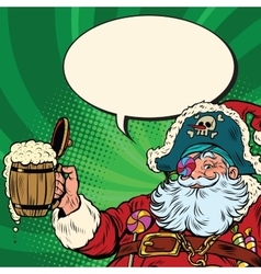 Santa claus beer in the irish pub vector