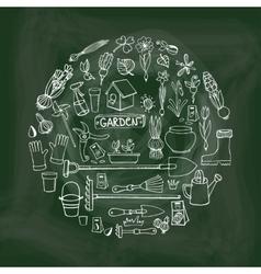 Spring garden doodles in circleChalkboard vector image