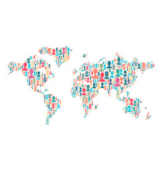 the map of the world made of plenty people vector image vector image