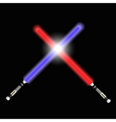 Two red and blue light future swords fight eps10 vector