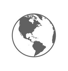 white and gray flat globe symbol vector image
