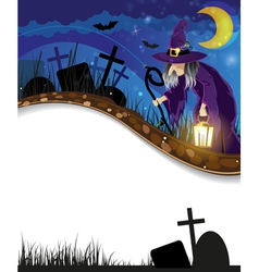 Wicked witch on a night cemetery vector