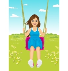 Young woman riding a swing in park in summer vector