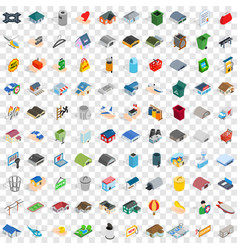 100 city element icons set isometric 3d style vector