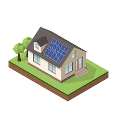 isometric house 2 sun batteries vector image