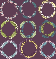 Set of colorful leafy wreaths round frames vector