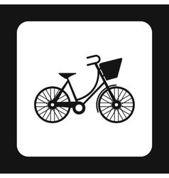 Bike with front bag icon simple style vector