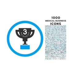 Third prize rounded icon with 1000 bonus icons vector