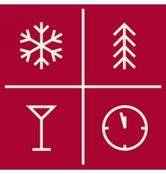Set of christmas geometric icons new year symbols vector
