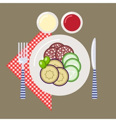 Picnic time nature outdoor recreation napkin vector