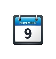 November 9 Calendar icon flat vector image