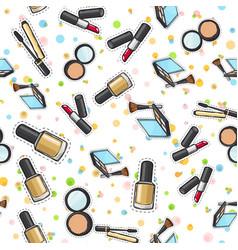 Seamless pattern nail polish powder lipstick vector