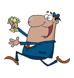 Hispanic businessman running with cash in hand vector
