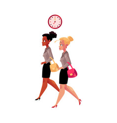 young businesswomen black and caucasian hurrying vector image