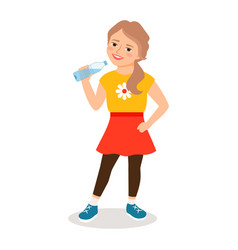 Cartoon little girl drinking clean water vector