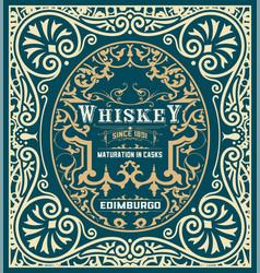 Baroque whiskey label vector