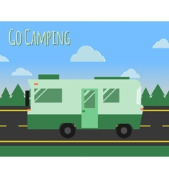 Summer camp travel poster logo badge motorhome on vector