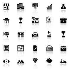 Asset and property icons with reflect on white vector