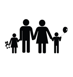 Family black silhouette vector